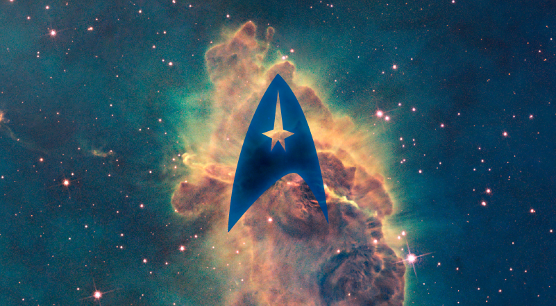 Rendering of outerspace with Star Trek logo