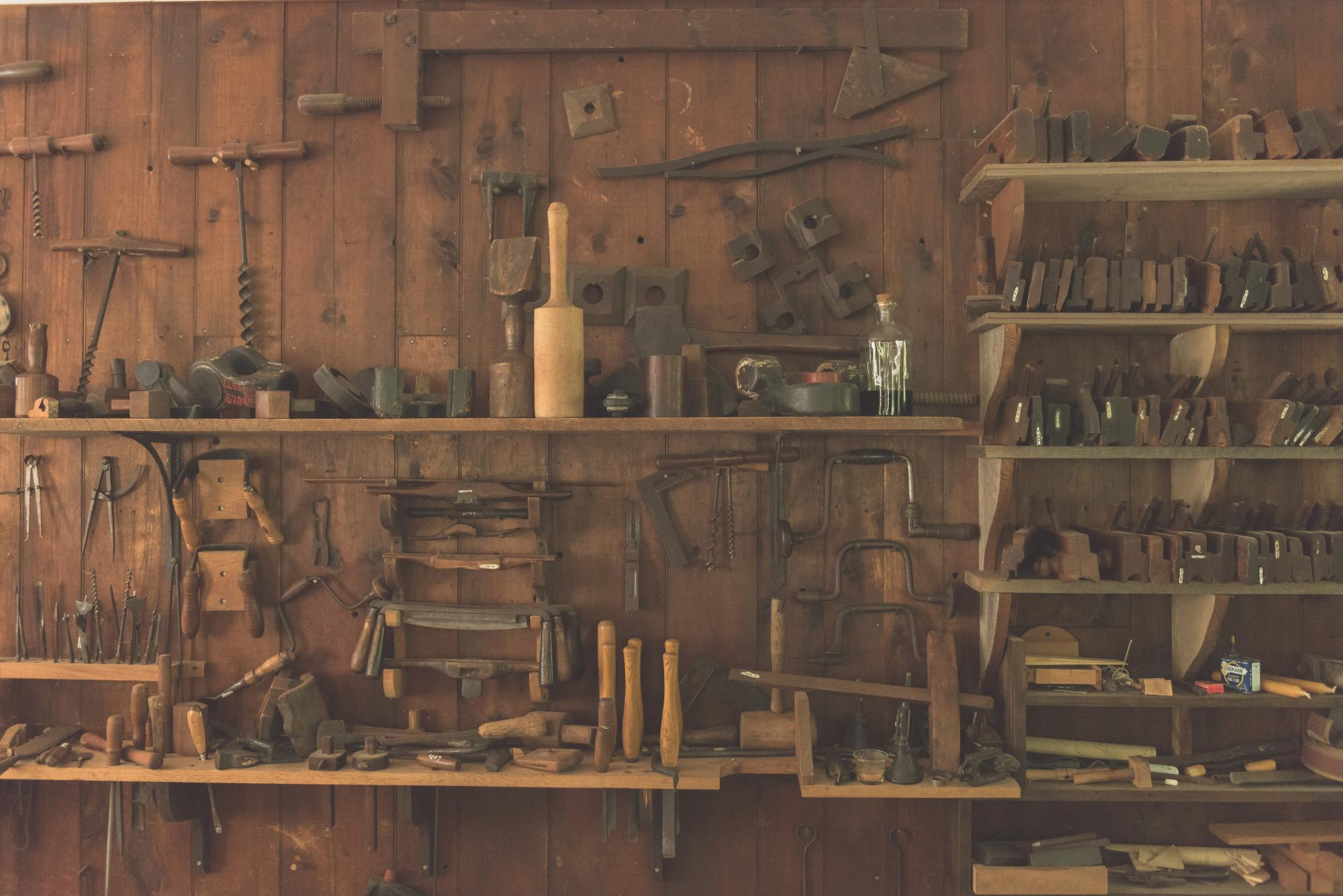 Photo of tools hung on wall