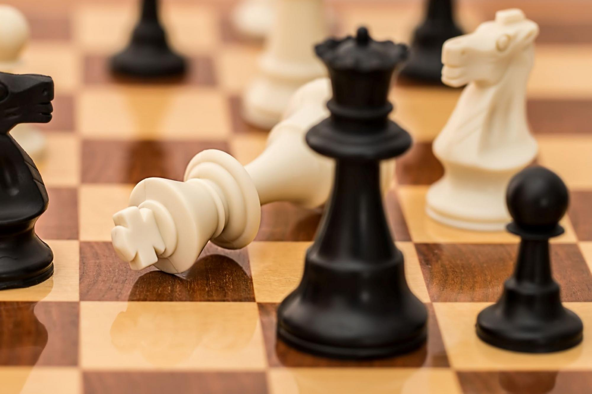 Pieces on chess board