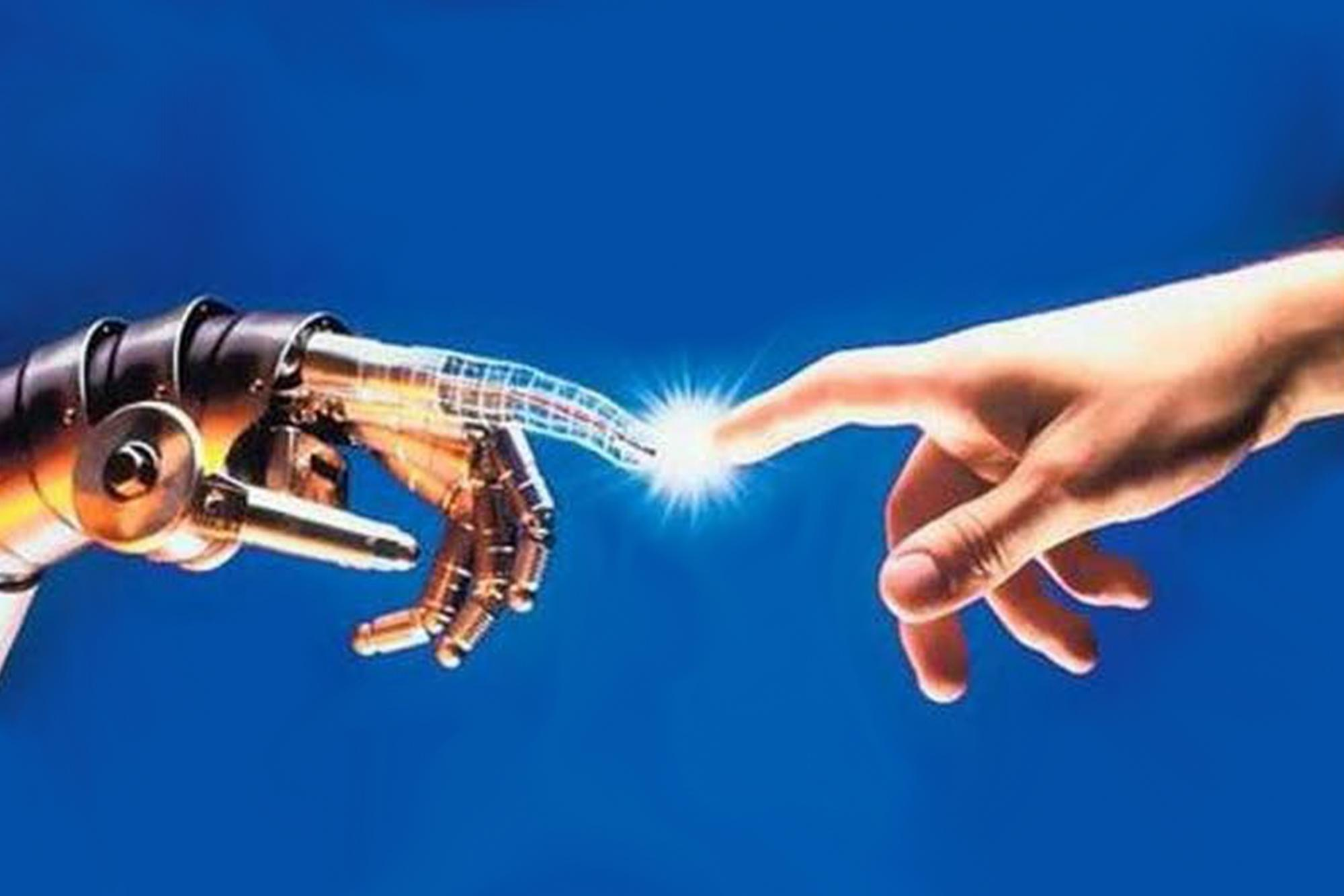Futuristic photo from 1970s of robot and human hand touching